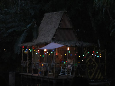 Christmas lights on the skipper's cabin.