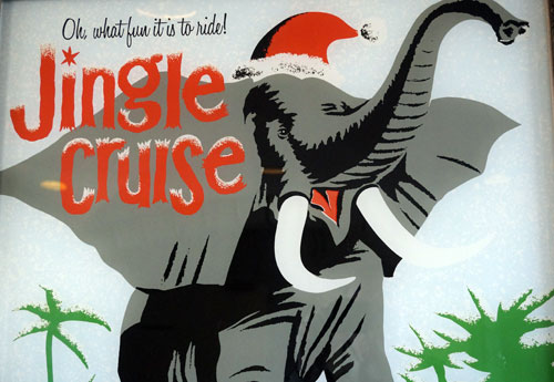 This poster may be a bit confusing.  The elephants in the Jungle Cruise don't wear Santa hats, but Disney does add Christmas elements to the attraction.