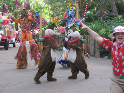 Chip and Dale put on some Christmas accessories.