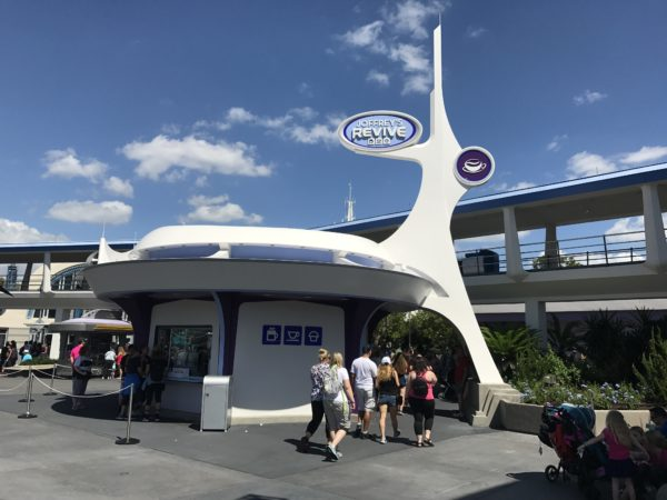 The new coffee shop is near the PeopleMover and Space Mountain.