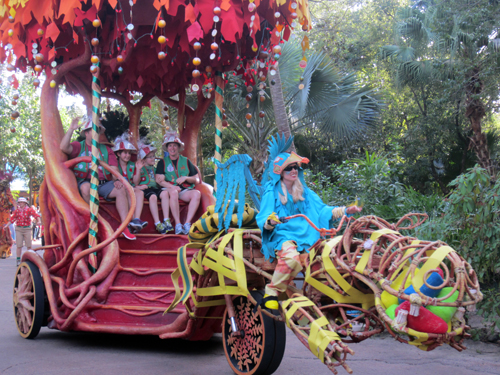 The Imagineers were certainly creative when making the vehicles for this parade!