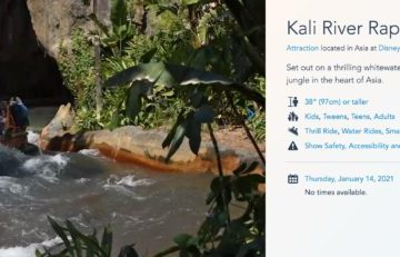 Screenshot from Walt Disney World's official website reflecting the change to Kali River Rapids.