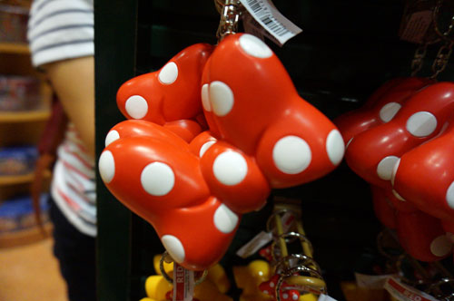 Key chain of Minnie's bow.  It squeeks when you squeeze it.