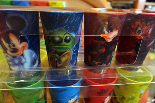 Set of four cups with Disney characters as Star Wars characters.