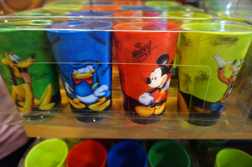 Set of four cups with classic Disney characters.