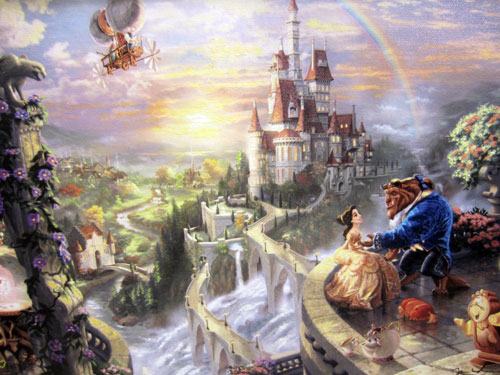 "Artwork with Belle and Beast titled ""Beauty and The Beast"" by Thomas Kinkade. Giclee on Canvas - $795"