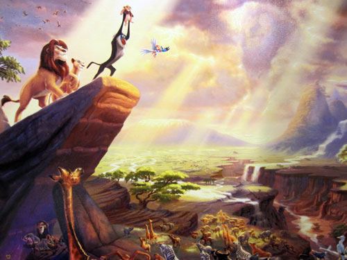 "Artwork of Mufasa and Simba in painting titled ""Lion King"" by Thomas Kinkade. Giclee on Canvas - $1100"