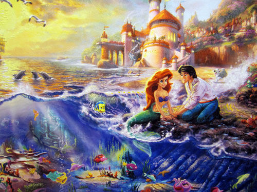 "Artwork of Ariel and Prince Eric called ""Little Mermaid"" by Thomas Kinkade.  Giclee on Canvas - $795"