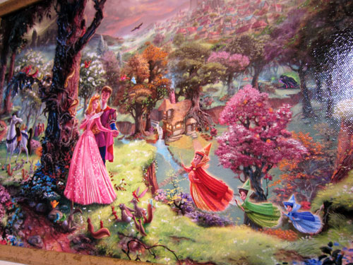 "Artwork with Aurora and Prince Phillip titled ""Sleeping Beauty"" by Thomas Kinkade. Giclee on Canvas - $795"