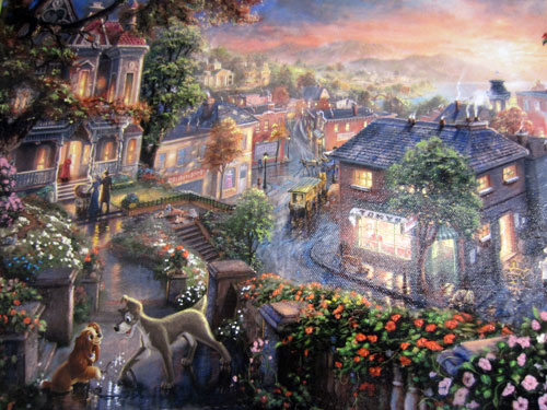 "Artwork titled ""Lady and the Tramp"" by Thomas Kinkade.  Giclee on Canvas - $795"