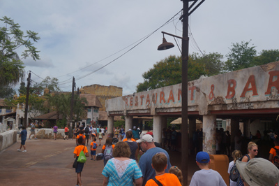 Walkway near the Tusker House restaurant leads to the Harambe Theatre.
