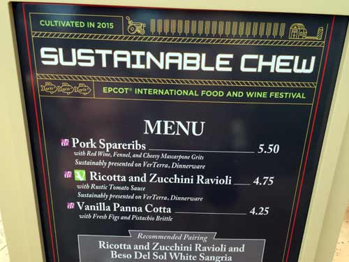 Menu with sustainable food items.