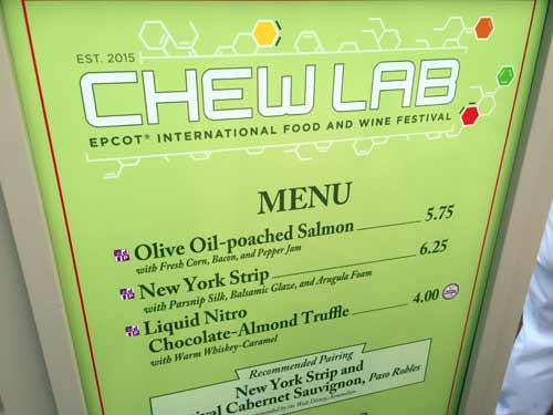 The Chew Lab menu includes some unique items.
