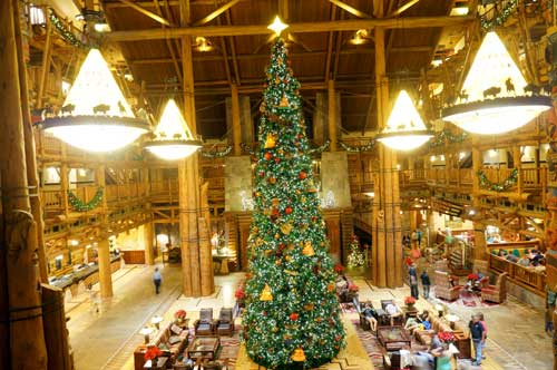 the massive christmas tree in the lobby is breathtaking