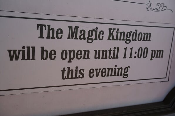 Magic Kingdom's hours on display.