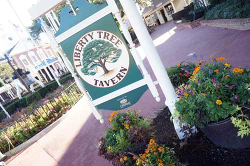 The Liberty Tree Tavern is closed right now, but beautiful flowers still adorn the entry.