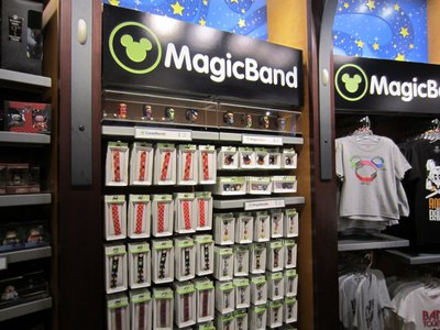 Sales racks of MagicBand stuff.