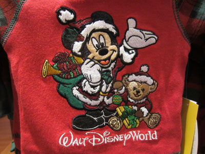 Santa Mickey and Duffy the Disney bear.
