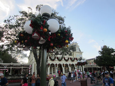 The street lamps are ready for Christmas.
