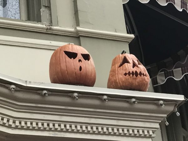 Jack-O-Lanterns watching over the crowds.