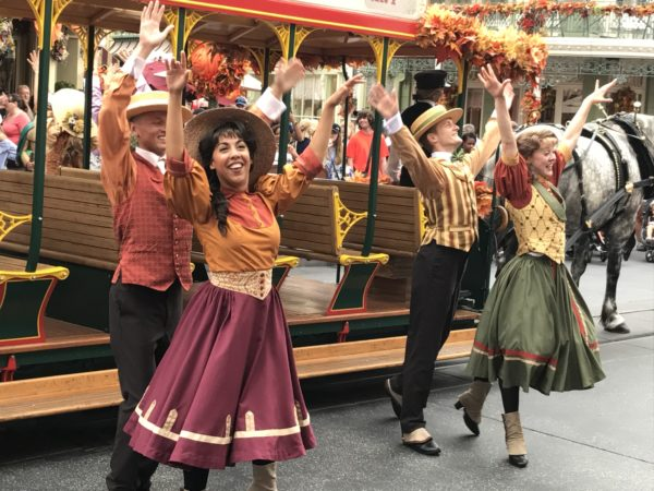 The performers in the Main Street USA Trolley Show are sporting their fine fall clothes.
