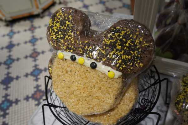 Here's a rice krispie Mickey Mouse cookie dipped in chocolate and sprinkles.