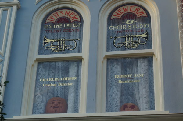 Corson and Jani were responsible for hiring talent for Disney World. Their service is honored with a window above the Emporium.