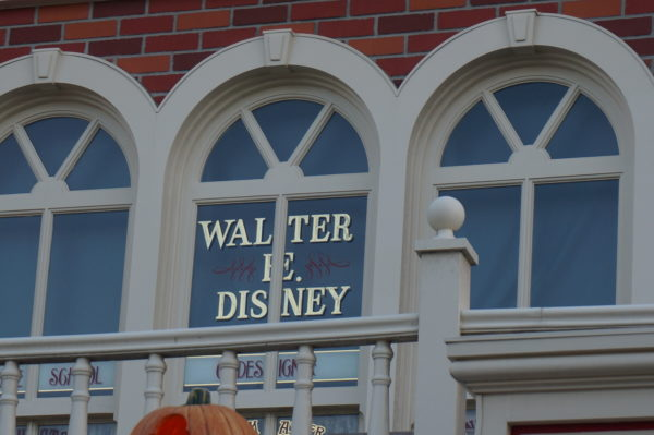 Walt Disney has two windows on Main Street USA- one above the railroad and one to honor his design team.
