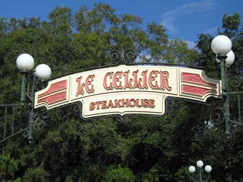 Dig into a big steak at Le Cellier.