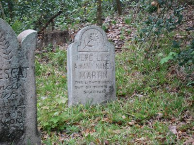 """Here lies a man named Martin, the lights went out on this old Spartin""."