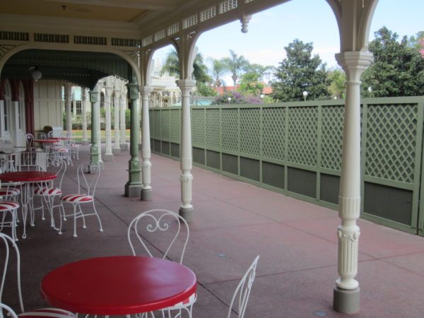 The seating outside of Casey's Corner is a great place to meet, but you'll want to avoid the area at night before the fireworks.
