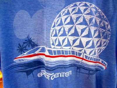 Some items - like this retro Epcot t-shirt, are only for sale in stores on Disney World property.