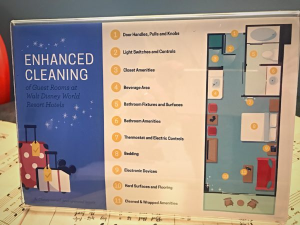 Disney has a sign explaining the details of its enhanced cleaning procedures.