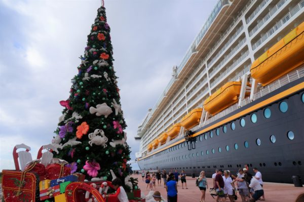 A huge nautically-themed Christmas tree greets guests as they exit the ship on Castaway Cay.