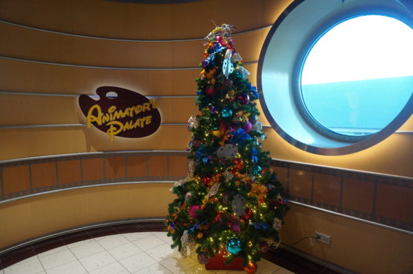 Enjoy this Christmas tree while you wait for your dining experience in Animator's Palate.