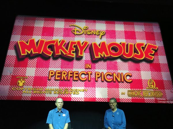 In the pre-show you will watch a Mickey Mouse short called Perfect Picnic. Something happens and you enter the cartoon world.
