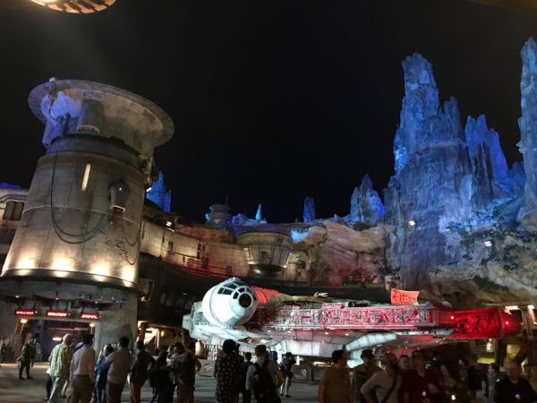 Star Wars Galaxy's Edge at night.