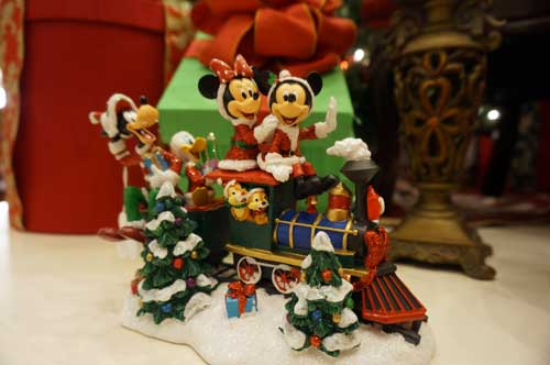 The Emporium has plenty of Christmas items, like this train with Mickey, Minnie, and friends.