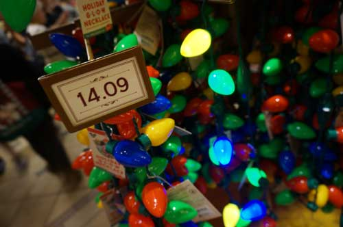 These Christmas light necklaces are very popular, even if they are a bit pricey.