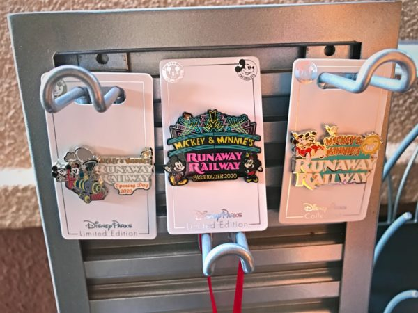 These Runaway Railway pins are really cool! The first one is an Opening Day commemorative pin. The second one is an annual pass holder 2020 exclusive pin. And the third is an open edition pin.