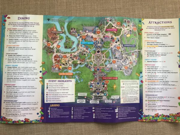 Full Magic Kingdom park map with Dining and Attractions highlights.