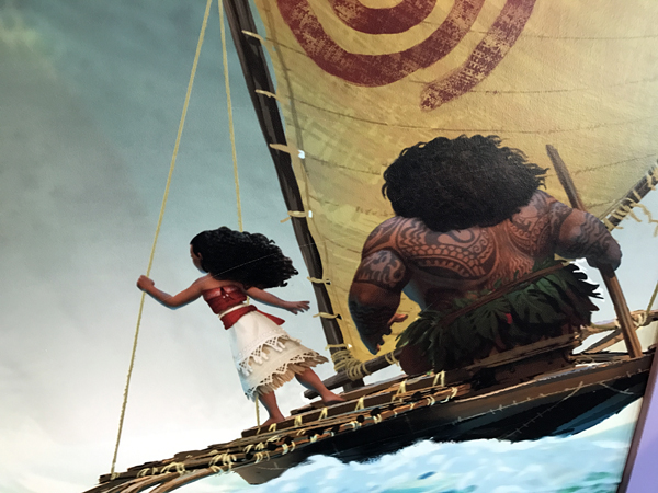 Moana bravely takes to the seas.