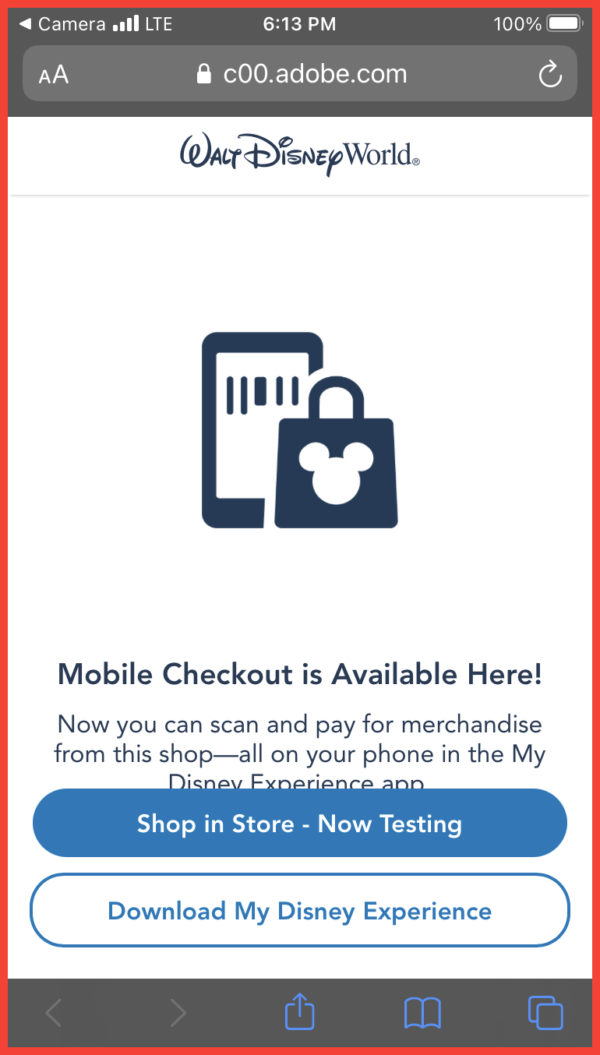This is the screen you see after you scan the QR code on the sign in the store. It redirects you to the My Disney Experience app.