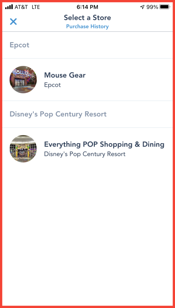 The My Disney Experience App shows the stores currently offering the mobile shopping test.