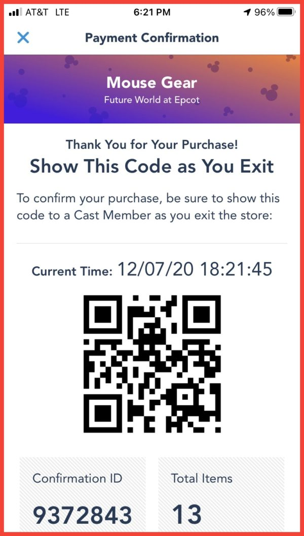 You pay in the app, which automatically applies discounts. Show the code on your phone to a Cast Members at the exit and you simply walk out.