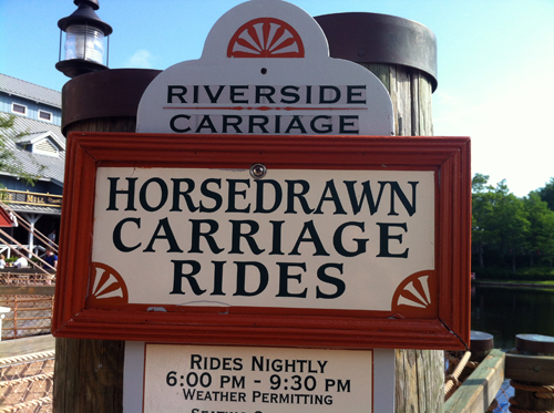 Don't miss the horse-drawn carriage rides at Port Orleans Riverside.