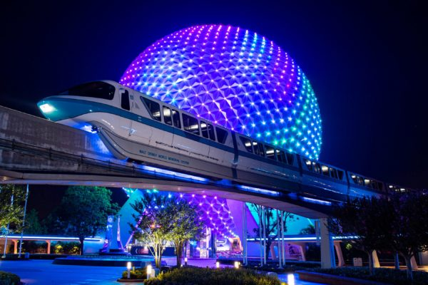 New lighting shines from a Monorail train at EPCOT. (David Roark, photographer) Photo credits (C) Disney Enterprises, Inc. All Rights Reserved