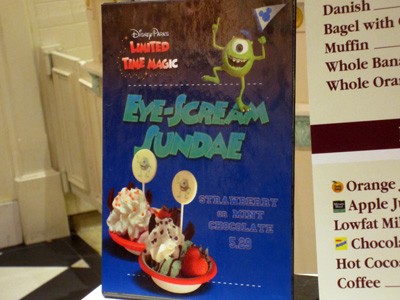 Special Eye-Scream Sundaes were available on Main Street.