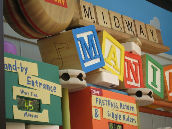 Stand-by times for Toy Story Midway Mania can reach upwards of an hour or more.