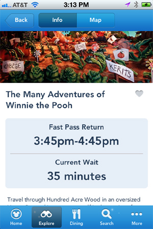 I was able to view actual wait times and FastPass return times.